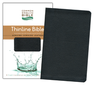 CEB Thinline Bible, Genuine Leather, Cowhide Black   -