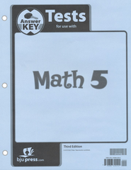 BJU Math Grade 5 Tests Answer Key, Third Edition    -