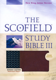 NKJV Scoffield Study Bible III, Basketweave BK/BG,  Bonded Leather, Thumb-Indexed  -