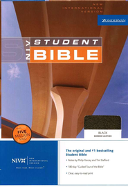 NIV Student Bible, Revised - Black Bonded Leather - Slightly Imperfect  -