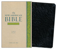 The New American Bible, Genuine Leather, Black,      Large Print, Revised Edition  -