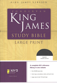 KJV Study Bible Large Print, Bonded Leather, Black  -