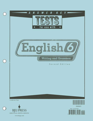 BJU English Grade 6 Test Answer Key, Second Edition    -