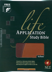 NLT Life Application Bible, Tan/Brown TuTone Imitation Leather   -