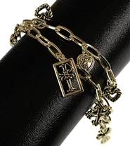 Inspirational Antique Gold Charm Bracelet  -