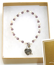 Prayer Box Cross Child Bracelet, February, Amethyst   -