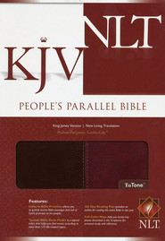 KJV/NLT People's Parallel Edition, Tutone, Leather Like  Walnut/Burgundy  -
