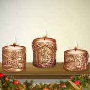 Nativity Votive Candle Holders, 3 Piece Set  -