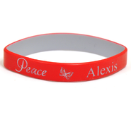 Personalized, Peace Wristband, With Name and Butterfly, Red  -