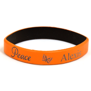 Personalized, Peace Wristband, With Name and Butterfly, Orange  -