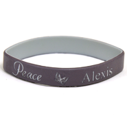 Personalized, Peace Wristband, With Name and Butterfly, Brown  -