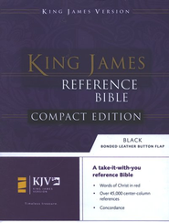 KJV Compact Reference Bible, Button Flap, Bonded Black    -
