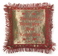 Red Chenille Fringed Pillow Cover, Blessing   -