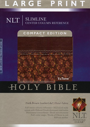 NLT Slimline Reference Bible, Large Print Compact TuTone  Leatherlike Brown/Floral Thumb-Indexed - Imperfectly Imprinted Bibles  -