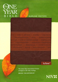 NIV One Year Bible Slimline Edition, TuTone Leatherlike Brown/Tan 1984  -