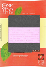 NLT One Year Bible Slimline Edition, TuTone Leatherlike Gray/Pink  -