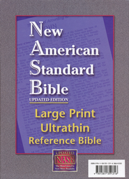 NASB UltraThin Large-Print Reference Bible--genuine leather, black  -