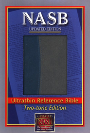 NASB Ultrathin Reference Bible--imitation leather, blue/gray - Imperfectly Imprinted Bibles  -
