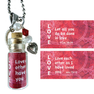 Love, Let All You Do, Message In A Bottle Necklace  -