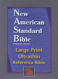 NASB Large-Print Ultrathin Reference Bible--bonded leather, black - Imperfectly Imprinted Bibles  -