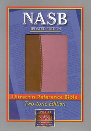 NASB Ultrathin Reference Bible-imitation leather, brown/pink - Imperfectly Imprinted Bibles  -
