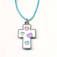 Kids Heart Pendant, White with Colored Hearts  -