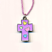 Kids Heart Pendant, Purple with Colored Hearts  -