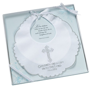Christening Bib, Children Are a Gift, White  - Slightly Imperfect  -