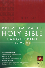 NLT Premium Value Large Print Slimline Bible, Brick Red Leatherlike  -