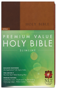 NLT Premium Value Compact Slimline Bible TuTone Leatherlike brown/tan  -