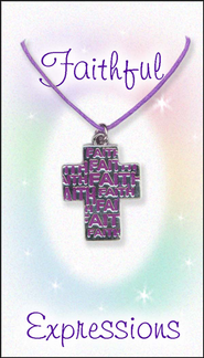 Faith Cross Necklace, Purple  -
