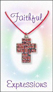 Love Cross Necklace, Red  -