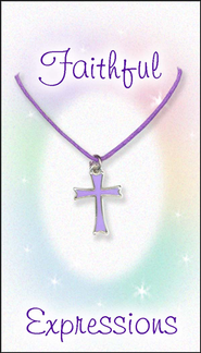Cross Necklace, Purple  -