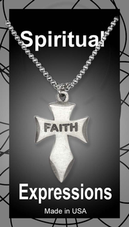 Angeled Cross Pendant, Faith  -