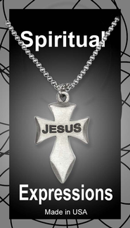 Angeled Cross Pendant, Jesus  -