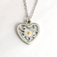 Mustard Seed Heart Necklace  -
