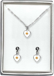 Mustard Seed Heart Necklace and Earrings Set   -