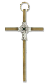 Decorative Wall Cross, with Green Stone  -
