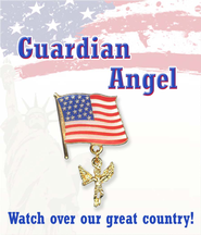 Guardian Angel with American Flag Lapel Pin  -