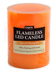 Pillar LED Candle, 3x4, Spiced Pumpkin   -