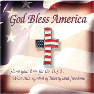 Cross Shaped American Flag Lapel Pin  -