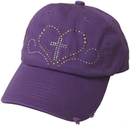 Studded Heart Cap Purple  -