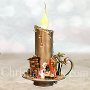 LED Candle with Holy Family Scene  -