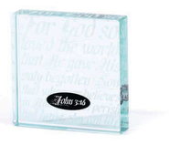 For God So Loved, John 3:16, Glass Block  -