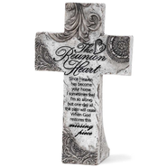 The Reunion Heart Tabletop Cross  -