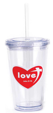 Love, John 3:16, Reusable Cup with Straw    -
