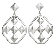 Shield of Faith Dangle Earrings, Silver Plated, Large  -