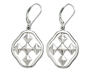 Shield of Faith Dangle Earrings, Silver Plated, Small  -