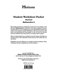 Horizons Mathematics Grade 6 Student worksheet packet  -