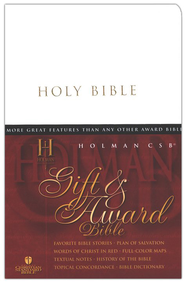 HCSB Gift and Award Bible, Imitation Leather, White     -